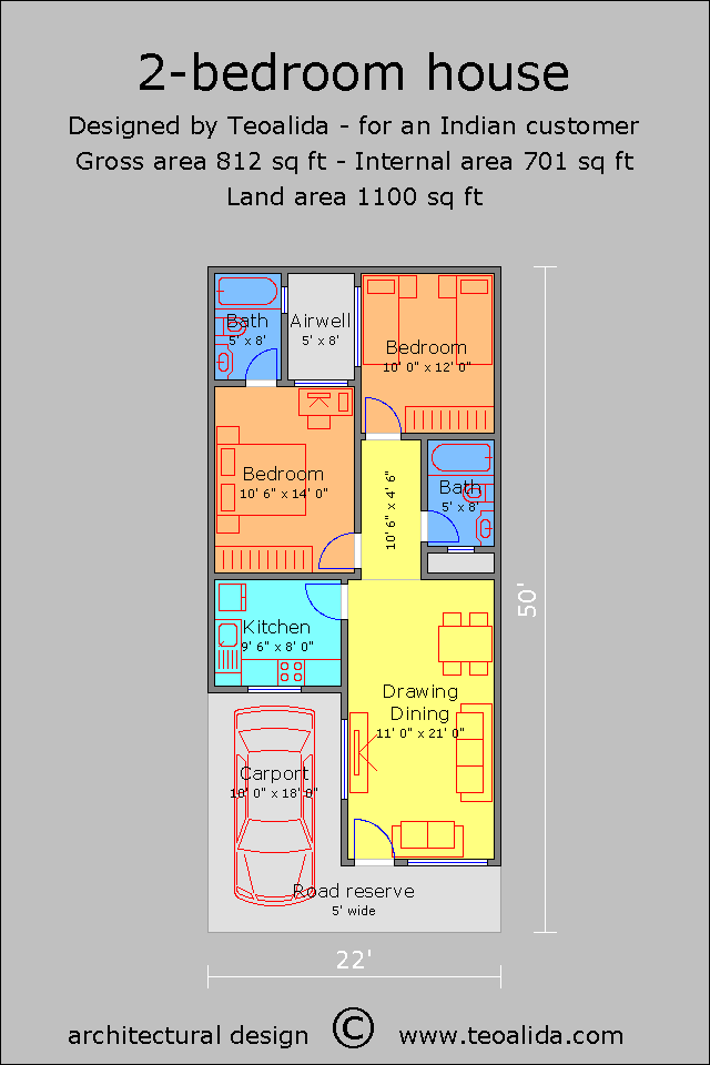 22x50 ft 2BHK house plan