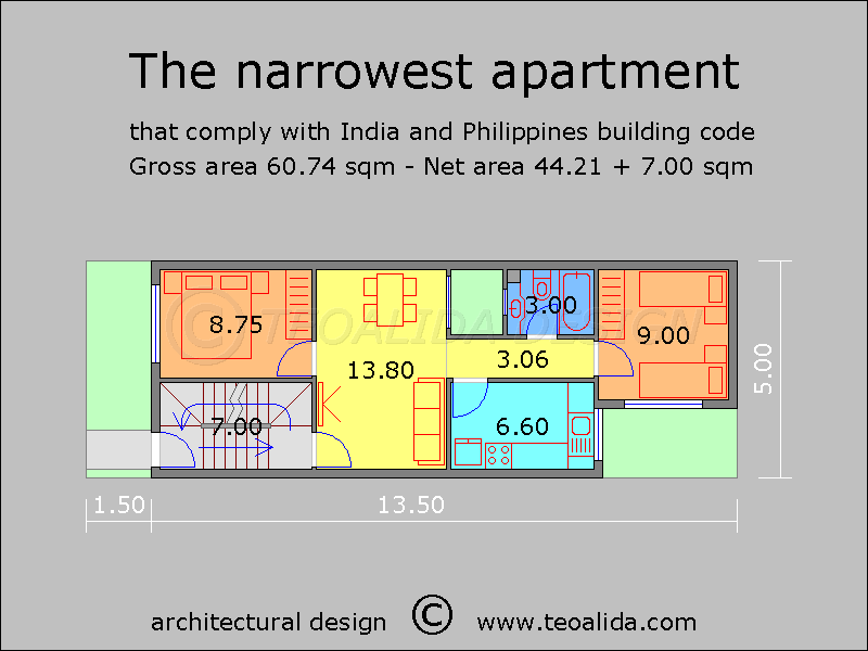 5-meter wide narrow apartment block