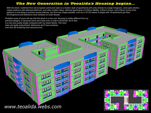S-shaped block with 16 apartments per floor