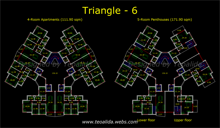 Triangle tower with 6 apartments per floor