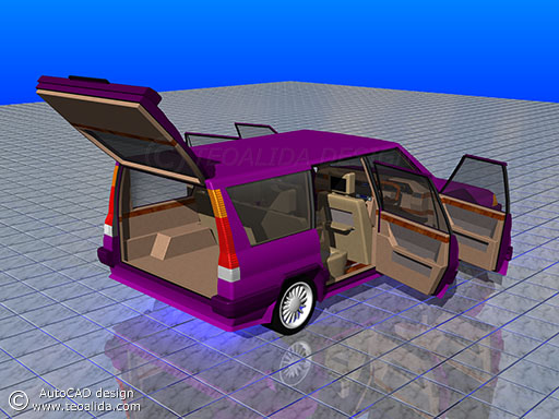 AutoCAD 3D model of a car, back & interior view
