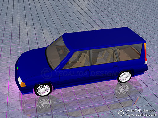 AutoCAD 3D model of a car, side view