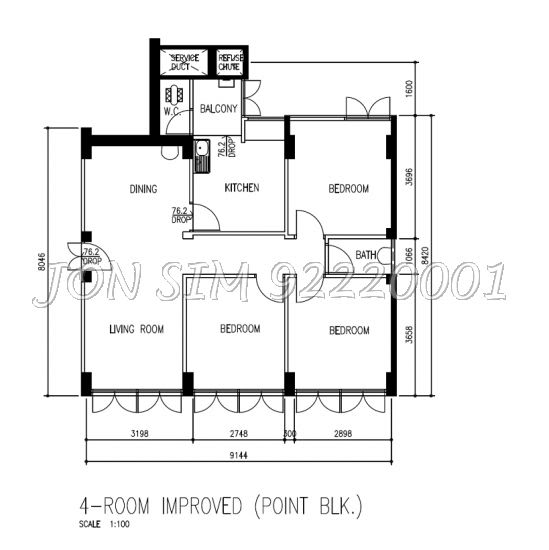 HDB 4-Room Improved flat (77 sqm) from block 53 Chin Swee Road