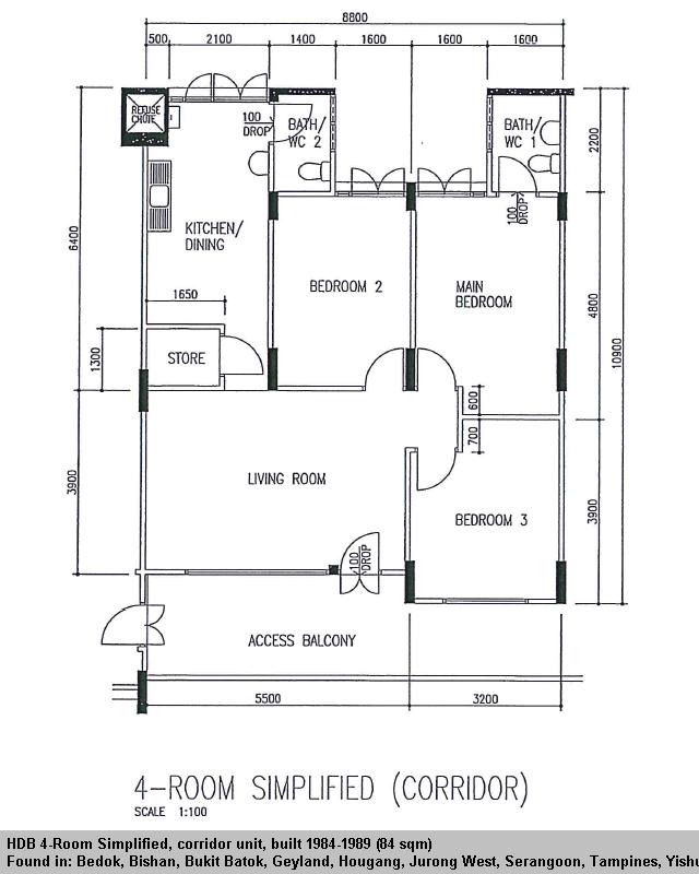 Floor Plan Hdb 4 Rooms Flat