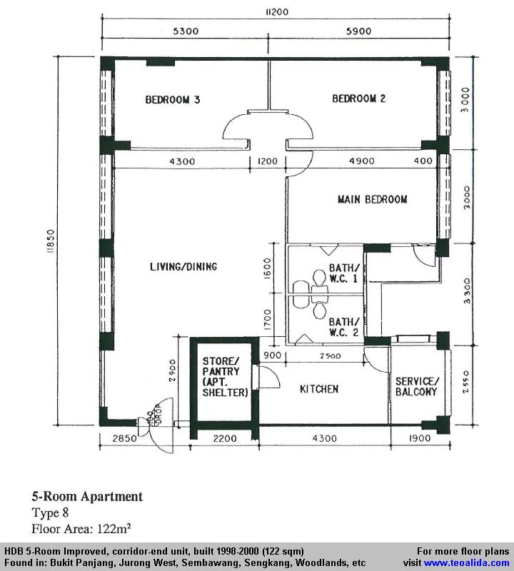 Bto 4 room apartment floorplan home design idea for Hdb household shelter design