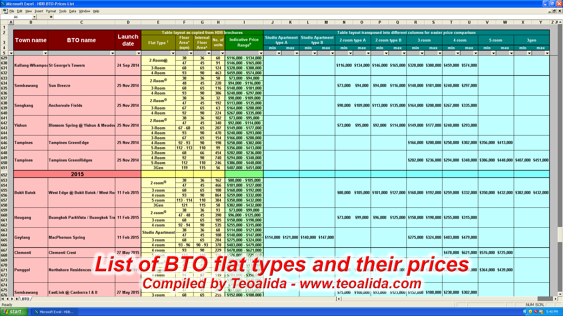 BTO prices 2001-2016