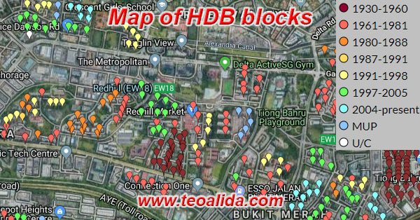 Map of HDB blocks