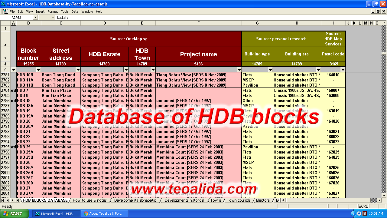 HDB Database, block number, street address, postal code