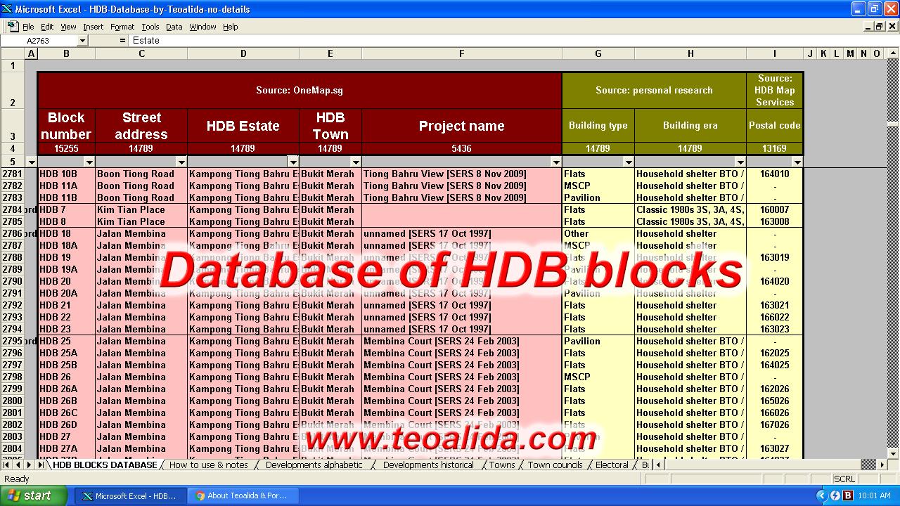 HDB Database, directory of HDB blocks and number of units | Teoalida