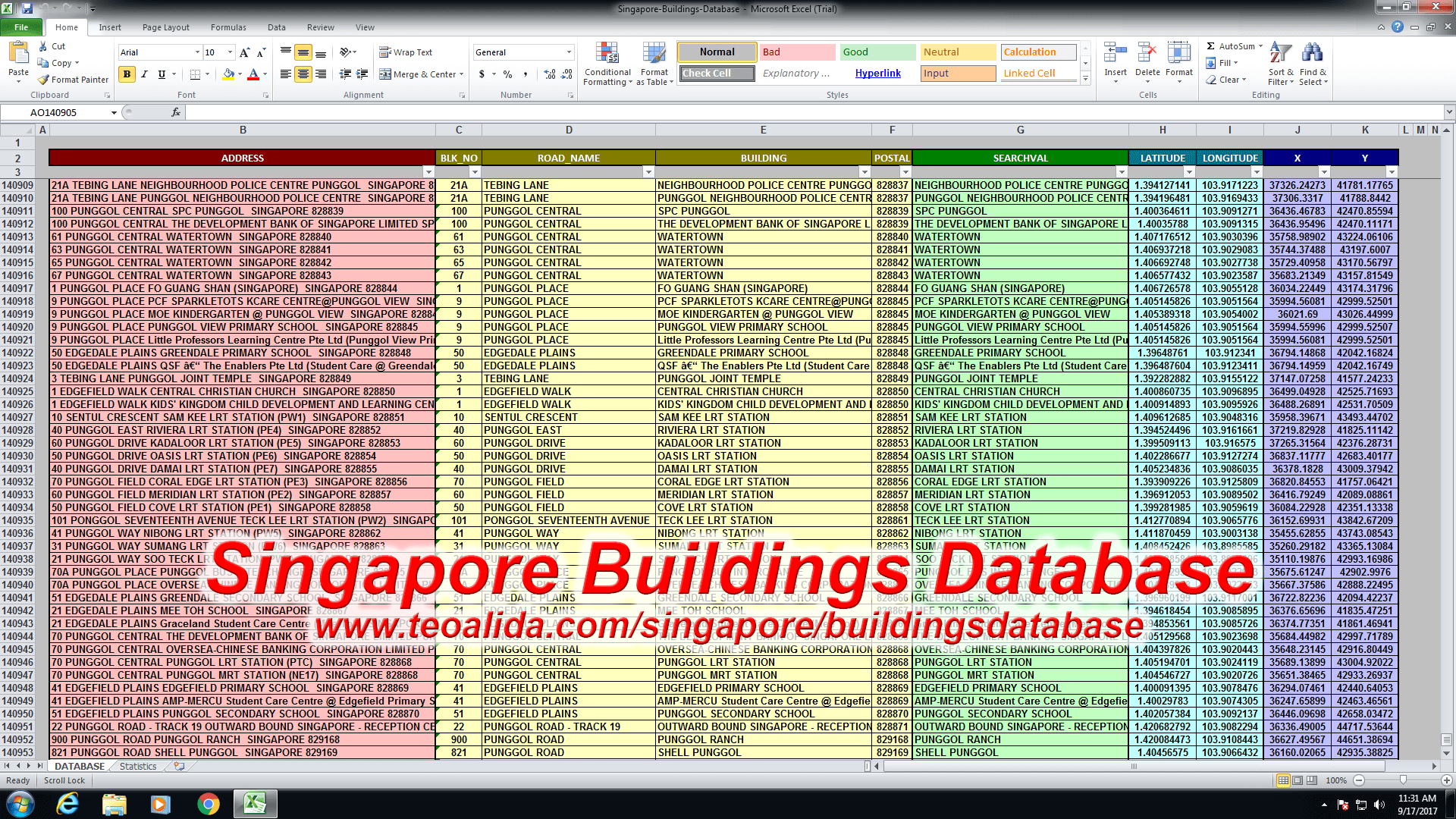 Singapore buildings database with postal codes - HDB, condo, landed,  commercial, industrial, etc | Teoalida Website