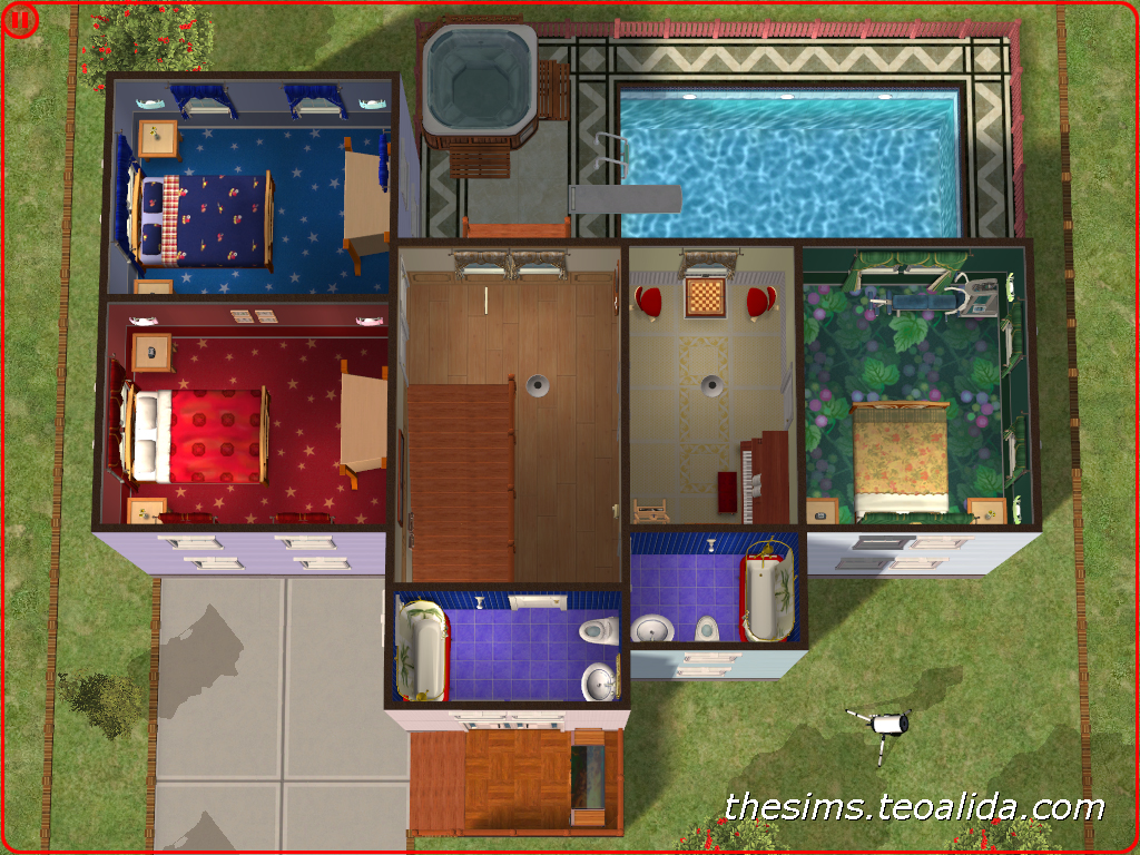 Floor area 218 squares 8 squares of terraces excluding 8 squares of void pool area 28 squares expansions required nightlife only the sims 2