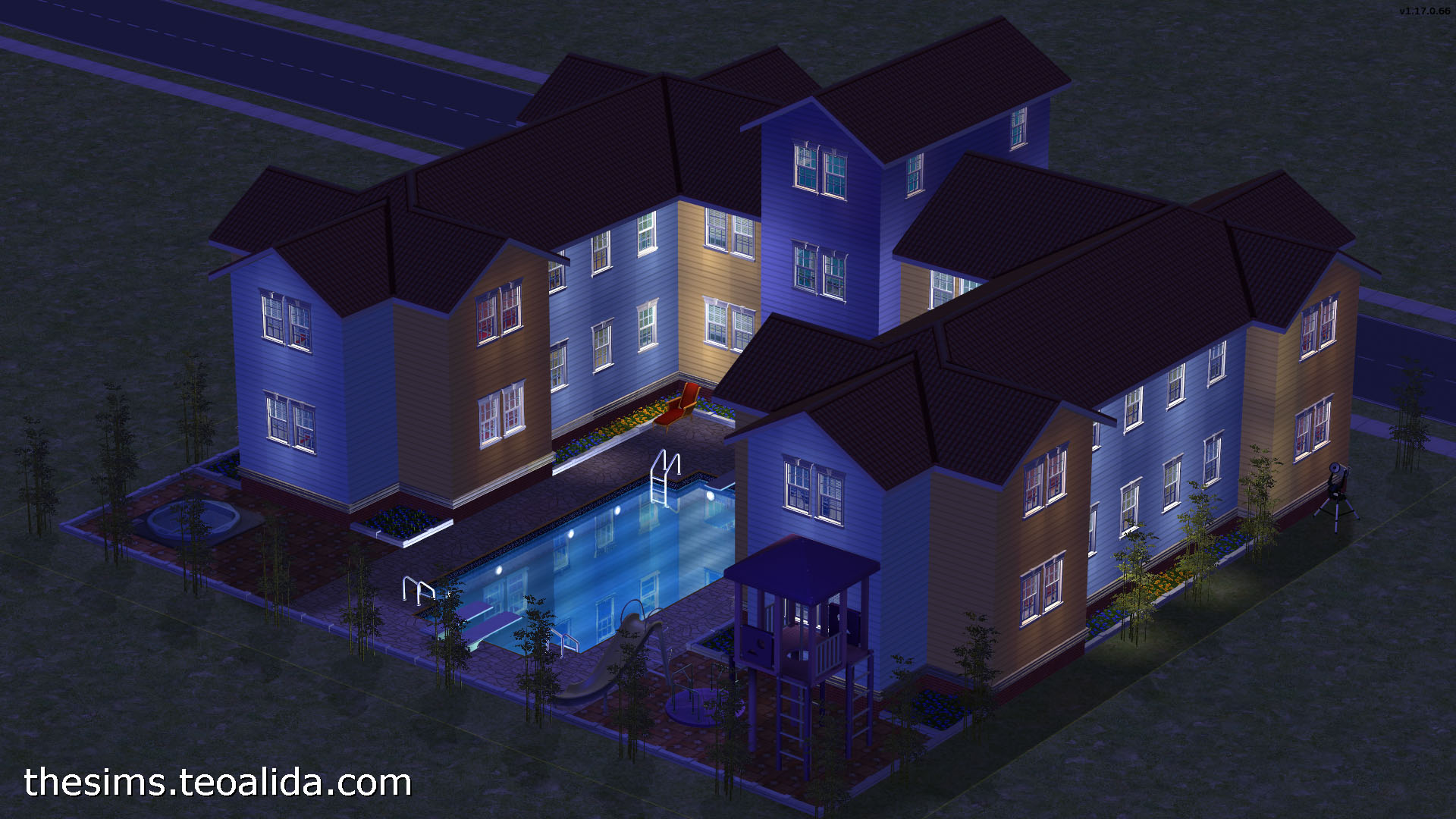 U-shaped apartment block for 4 families   The Sims fan page on shaped kitchen, u-shaped courtyard home plans, shaped building, shaped tile, shaped swimming pools, pie-shaped lot home plans,