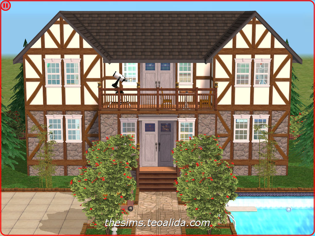 Symmetrical rustic-style house on 2x2 lot | The Sims fan page