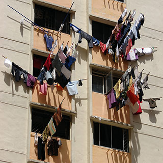 Drying laundry on bamboo poles