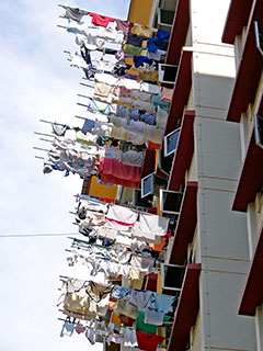 Drying clothing on bamboo poles
