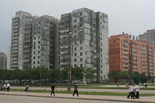 Decaying apartment block in Pyongyang