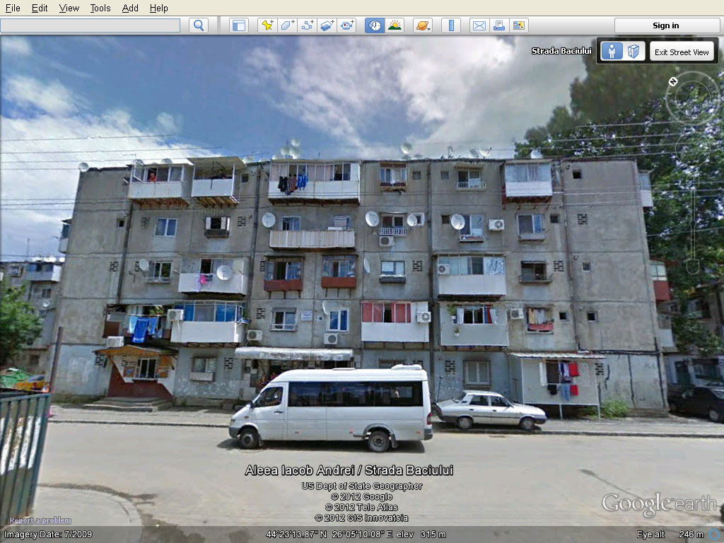 Caged balconies in Romania, reminds me of Hong Kong